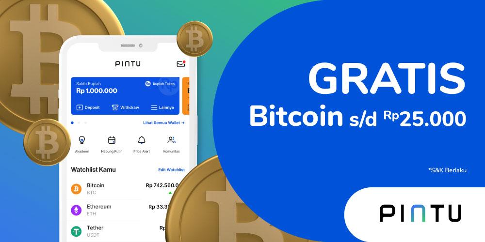 Gambar promo Promo Gratis Bitcoin s/d Rp. 25.000 dari PINTU dari Pintu
